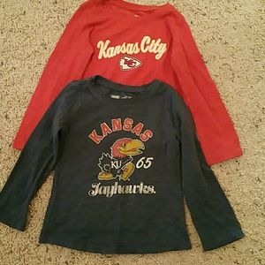 3T Jayhawk and Chiefs Shirts